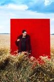 Mann auf einem Weizengebiet Stockbilder