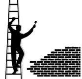 Mann auf einer Treppe schreibt Text Lizenzfreie Stockbilder