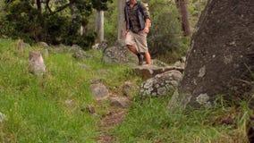 Mann auf einer Wanderung in der Landschaft stock video