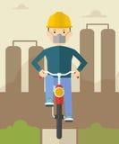 Mann auf Fahrrad in verunreinigter Stadt vektor abbildung