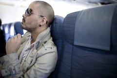 Mann auf Flugzeug stockbilder