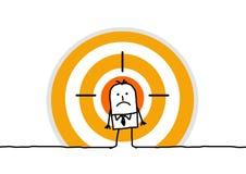 Mann auf gelbem Ziel Stockbild