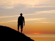 Mann auf Hügel Stockbilder