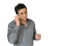 Mann auf Handy Lizenzfreies Stockbild