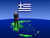 Mann auf Karte von Griechenland mit Markierungsfahne Stockfotos