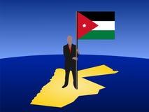 Mann auf Karte von Jordanien mit Markierungsfahne Lizenzfreie Stockbilder