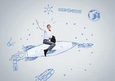 Mann auf Rakete Lizenzfreies Stockfoto