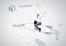 Mann auf Rakete Lizenzfreies Stockbild