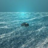 Mann auf Schreibtisch im Meer des Bargeldes Stockbild