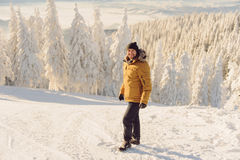 Mann auf Ski Path Stockbild