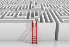 Mann auf Treppe und Labyrinth lizenzfreie abbildung