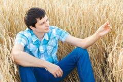 Mann auf Weizenfeld Stockfoto