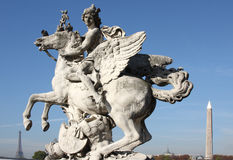 Mann auf winged Pferd Stockbild