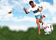Mann-bester Freund-Begleiter-Hundereichweite-Wurfs-Ball-Illustration Lizenzfreies Stockbild