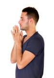 Mann beten seinen Gott Lizenzfreies Stockfoto