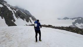 Mann bewundert den Gletscher Lizenzfreie Stockfotografie