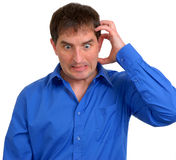 Mann in blauem Smokinghemd 5 Lizenzfreies Stockfoto