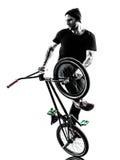 Mann bmx akrobatische Abbildung Schattenbild Lizenzfreie Stockfotografie
