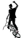 Mann bmx akrobatische Abbildung Schattenbild Lizenzfreie Stockfotos
