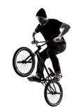 Mann bmx akrobatische Abbildung Schattenbild Stockfoto