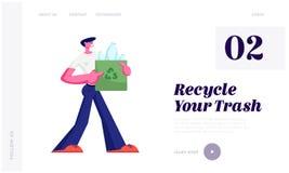 Mann Carry Bag mit bereiten das Zeichen auf, das vom Plastikflaschen-Abfall, Endverschmutzungs-Konzept, der Ökologie-Schutz voll  stock abbildung