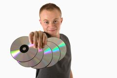 Mann with cd Stock Photos
