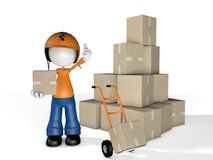 Mann-Charakter-Kurier Delivery mit Kasten und Gabelhubwagen Lizenzfreies Stockfoto