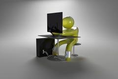 Mann chined zum PC Stockbild
