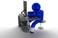 Mann chined zum PC Lizenzfreies Stockfoto