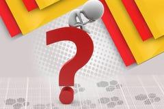 Mann 3d auf Fragezeichenillustration Stockbild