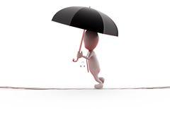 Mann 3d auf Seil mit Regenschirmkonzept Stockfoto