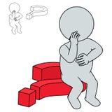 Mann 3d denken auf einem Fragezeichen Stockfotografie