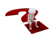 Mann 3d, der auf dem roten Fragezeichenloch lokalisiert über Weiß sitzt und denkt lizenzfreie abbildung