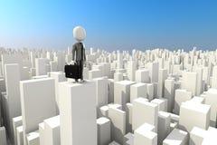 Mann 3d, der auf der Dachspitze des Wolkenkratzers steht Lizenzfreie Stockbilder