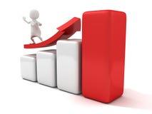 Mann 3d, der auf rotes wachsendes Pfeilerfolgs-Balkendiagramm surft Stockfotos