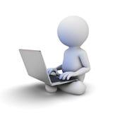 Mann 3d, der auf weißem Boden sitzt und Laptop-Computer auf seinem Schoss verwendet Stockfotos