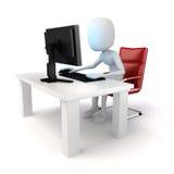 Mann 3d, der an Computer arbeitet Lizenzfreies Stockfoto