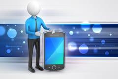 Mann 3d, der den Tablet-Computer zeigt Lizenzfreie Stockfotos