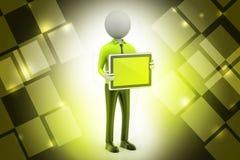 Mann 3d, der den Tablet-Computer zeigt Lizenzfreie Stockbilder