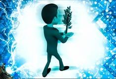 Mann 3d, der in der Hand Illustration der Grünpflanze trägt Lizenzfreie Stockfotografie