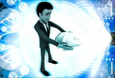 Mann 3d, der in der Hand piggybank Illustration hält Lizenzfreie Stockfotografie