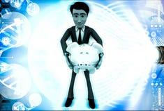 Mann 3d, der in der Hand piggybank Illustration hält Stockfotografie