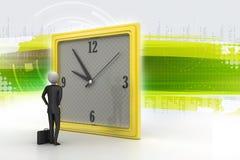 Mann 3d, der die Uhr aufpasst Lizenzfreies Stockfoto