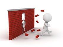 Mann 3D, der durch eine Backsteinmauer läuft Lizenzfreie Stockfotografie