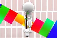 Mann 3d, der Eco-Beleuchtungssystem-Illustration stützt Lizenzfreies Stockbild