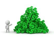 Mann 3D, der enormen Stapel von Dollarsymbolen klettert Stockfoto