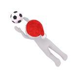 Mann 3d, der Fußballtauchen spielt, um den Ball zu fangen Stockbilder