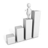 Mann 3d, der Geschäftswachstumdiagrammdiagramm darstellt Stockbilder