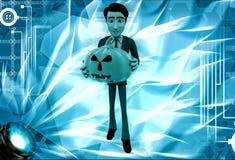 Mann 3d, der Halloween-Kürbisillustration hält Lizenzfreies Stockfoto