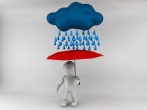 Mann 3D, der mit einem Regenschirm steht Lizenzfreie Stockfotografie